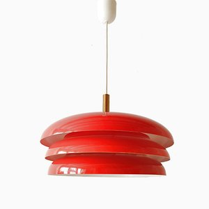 Vintage Red-Lacquered Steel & Brass Pendant Light, 1960s