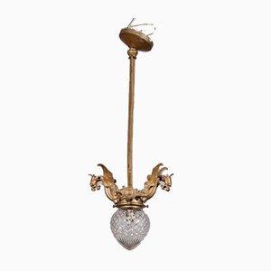 Antiker italienischer Kronleuchter aus Bronze & Glas mit Dekoration in Drachen-Optik