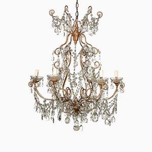 Lámpara de araña italiana antigua de vidrio