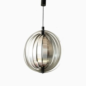 Vintage Brushed Steel Moon Pendant Light, 1960s