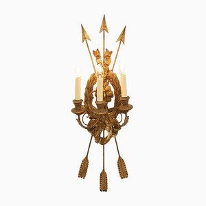 Italian Wooden Gilded Three-Light Wall Sconce, 1960s