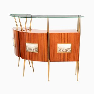 Italian Rosewood, Brass & Glass Dry Bar, 1950s