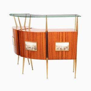 Mueble bar italiano de palisandro, vidrio y latón, años 50