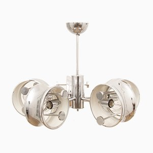 5-Armed Circular Chrome Ceiling Lamp, 1960s