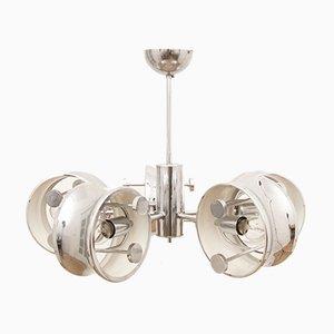 Lámpara de techo circular de cromo de 5 brazos, años 60