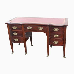 Bow Fronted Solid Mahogany Desk with Red Leather Inset, 1940s
