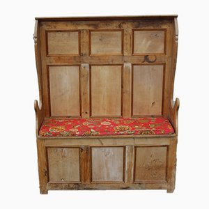 Pine Settle with Storage Box, 1910s