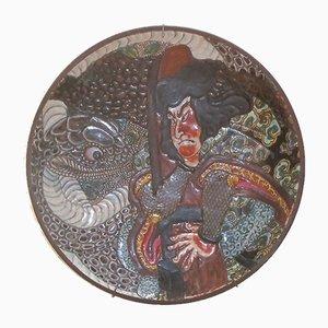 Plato japonés vintage hueco de gres decorativo