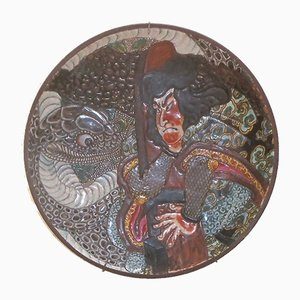 Vintage Japanese Hollow Decorative Stoneware Plate