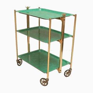 Vintage Servierwagen mit goldenem Gestell aus Messing & grünen Tabletts von Textable