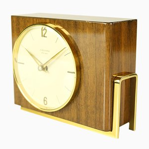 Mid-Century Wood, Brass & Glass Ato-Mat Table Clock from Junghans