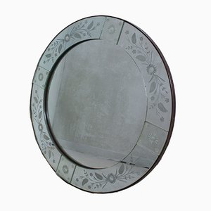 Italian Round Engraved Mirror, 1980s