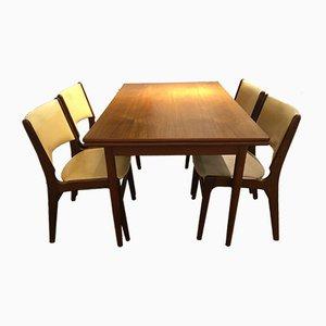Mesa de comedor vintage de teca con 4 sillas de Henning Kjærnulf para Boltings Stolefabrik, años 60. Juego de 5