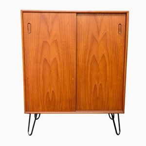 Small Teak Cabinet with Sliding Doors, 1960s