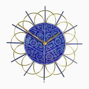 Horloge avec Cadran en Céramique Bleue et Dorée de Junghans, 1970s