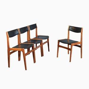 Dänische Mid-Century Stühle mit Sitz aus Leder & Gestell aus Teak, von Erik Buch, 1960er, 4er Set