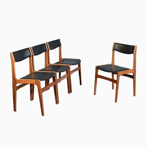 Mid-Century Danish Teak & Leather Chairs, by Erik Buch, 1960s, Set of 4