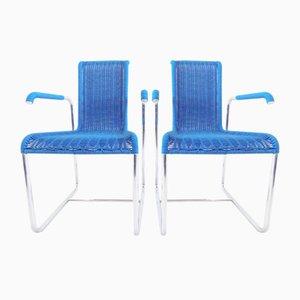 Sillas modelo D25 vintage en azul de Jean Prouve para Tecta. Juego de 2