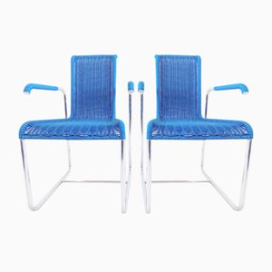 Vintage Model D25 Blue Chairs by Jean Prouve for Tecta, Set of 2
