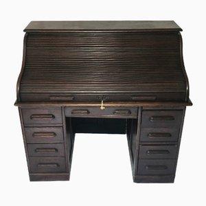 Antiker Schreibtisch aus Eiche mit Rolltür von Globe Wernicke