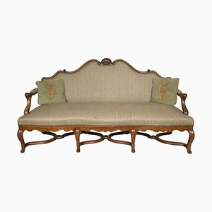 Antique Louis XV Style Walnut Sofa