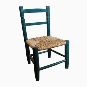 Vintage Kinderstuhl mit Holzgestell & Strohgeflecht