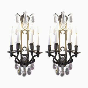 Antique Bronze Sconces with Crystals, Set of 2