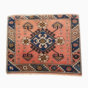 Square Geometric Oushak Hand-Knotted Rug, 1970s