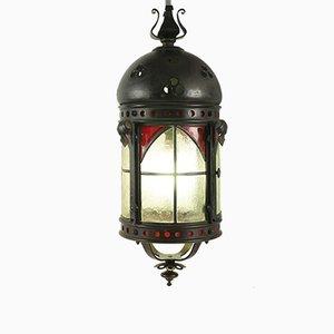 Antike gotische Laterne aus Schmiedeeisen & Glas