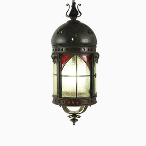 Antique Gothic Wrought Iron & Glass Lantern
