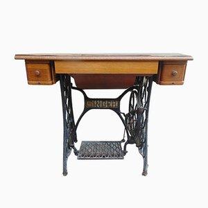 Máquina de coser y mesa alemanas modernistas de Singer, década de 1900