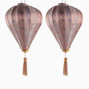Lanternes Antiques en Soie, Set de 2