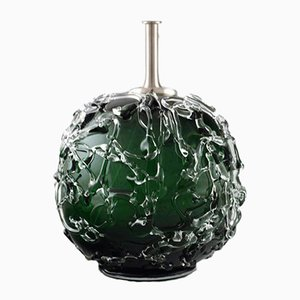 Round Dark Green and Clear Glass Table Lamp from Holmegaards, 1960s