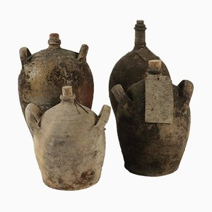 Antique Terracotta Bottles, Set of 4