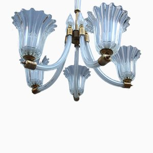 Round Transparent Murano Glass & Brass Chandelier, 1940s