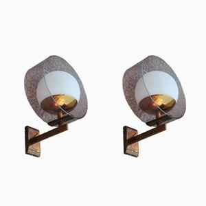 Round Mid-Century Plexiglas & Brass Wall Sconces from Stilux Milano, 1960s, Set of 2