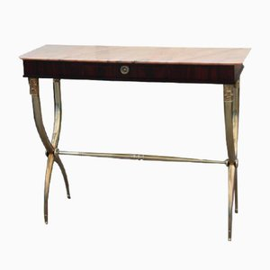 Antique Style Mahogany, Marble & Brass Console Table by Paolo Buffa, 1950s