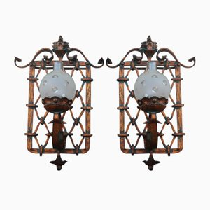 Large Italian Hand-Forged Golden Iron Sconces, 1950s, Set of 2