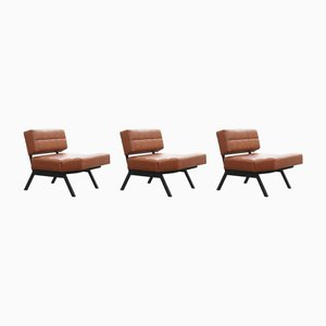 Italian Faux Leather Modular Brevetti Lounge Chairs by Rito Valla for IPE Bologna, 1960s, Set of 3