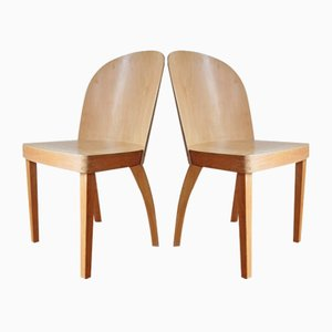 Vintage Birch Plywood Chairs, 1940s, Set of 2