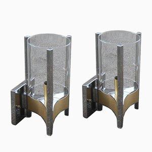 Apliques italianos modernistas de acero, latón y vidrio de Sciolari, años 70. Juego de 2