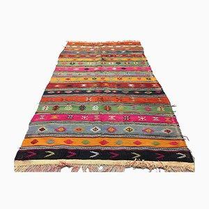 Alfombra kilim turca vintage grande de colores, años 50