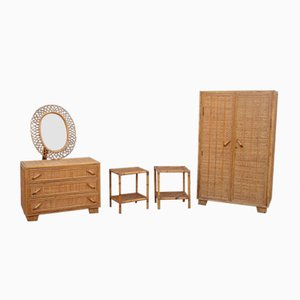 Mid-Century Italian Rattan Bedroom Set, 1950s