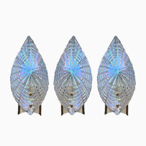 Iridescent Murano Glass & Gold-Plated Brass Shell Sconce, 1970s