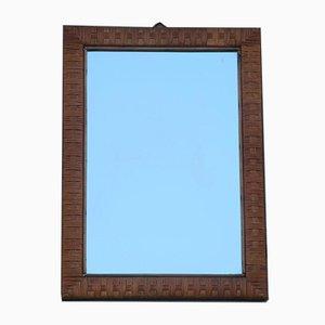 Espejo de pared italiano Mid-Century rectangular marrón trenzado, años 50