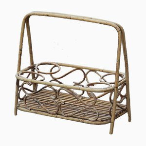 Mid-Century Italian Rattan Portable Bottle Rack, 1950s