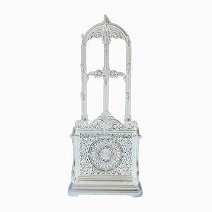 Antique Victorian White Cast Iron Hall Stand, 1890s