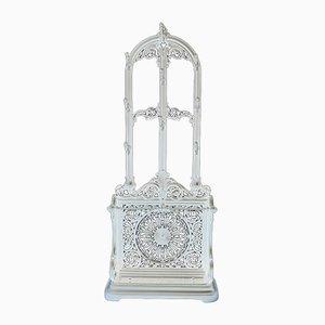 Mueble de recibidor antiguo victoriano de hierro fundido blanco, década de 1890