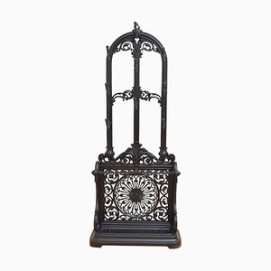 Antique Victorian Black Cast Iron Hall Stand, 1890s