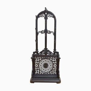 Mueble de recibidor victoriano antiguo de hierro fundido negro, década de 1890